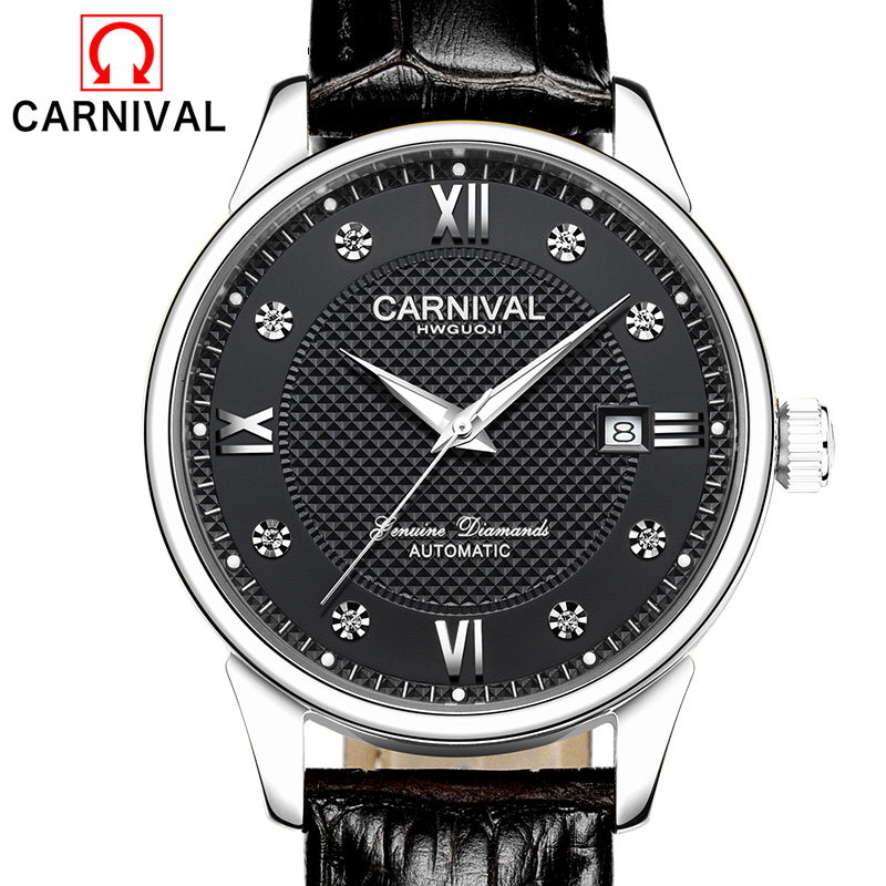 Watches Men Luxury Brand CARNIVAL Automatic Mechanical Watch Waterproof Perpetual Calendar Leather Wristwatch relogio masculino коврик туристический самонадувающийся larsen camp ht004