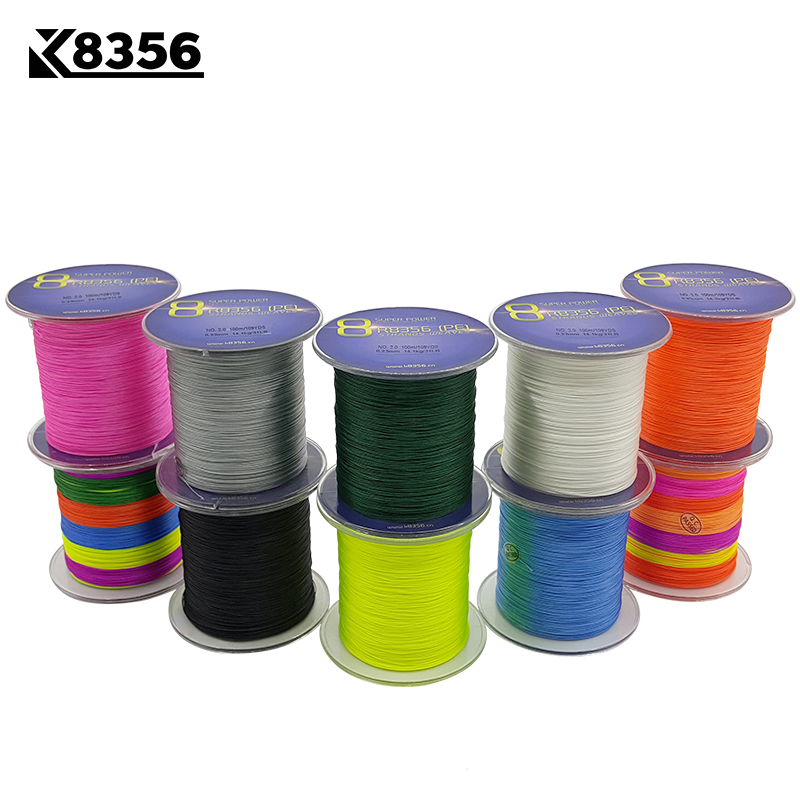 K8356 100M/109Yards 8 Stands PE Line Braided Fishing Line 100% PE Multifilament Fishing Line Super Strong High Quality 13-200LB
