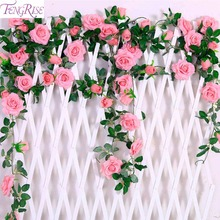 FENGRISE 2.4M/lot Silk Rose Flower With Ivy Vine Artificial Flowers for Home Wedding Decor Decorative Garland