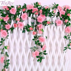 Fengrise 2.4 m/lote flor de seda rosa com hera videira flores artificiais para casa decoração do casamento decorativo flor artificial guirlanda