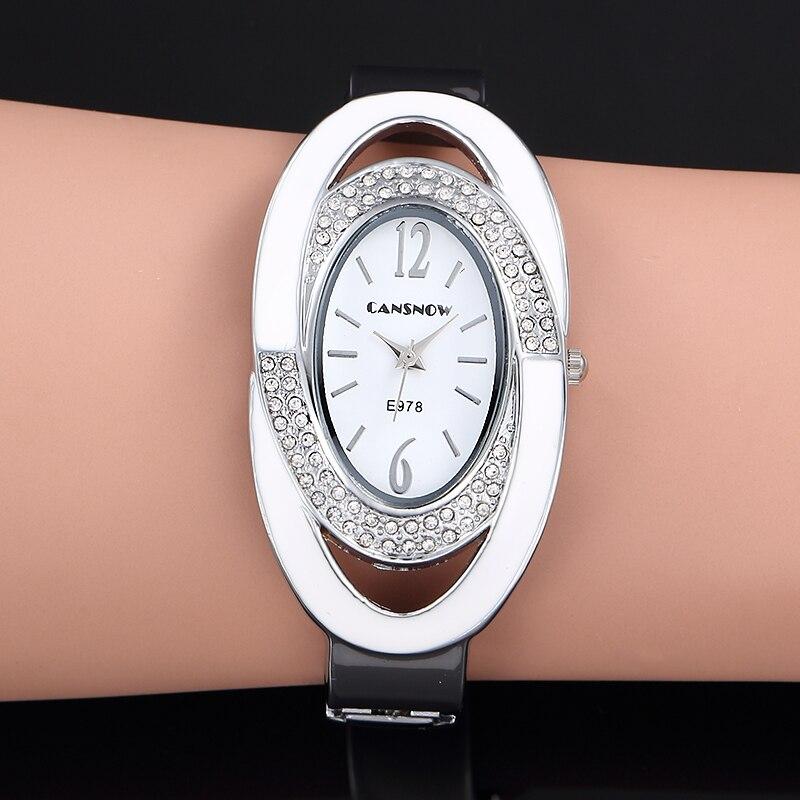 2019 New Luxury Brand Fashion Oval Dial Rhinestone Quartz Bangle Watches Women Dress Cuff Bracelet Wristwatch Relogio Feminino