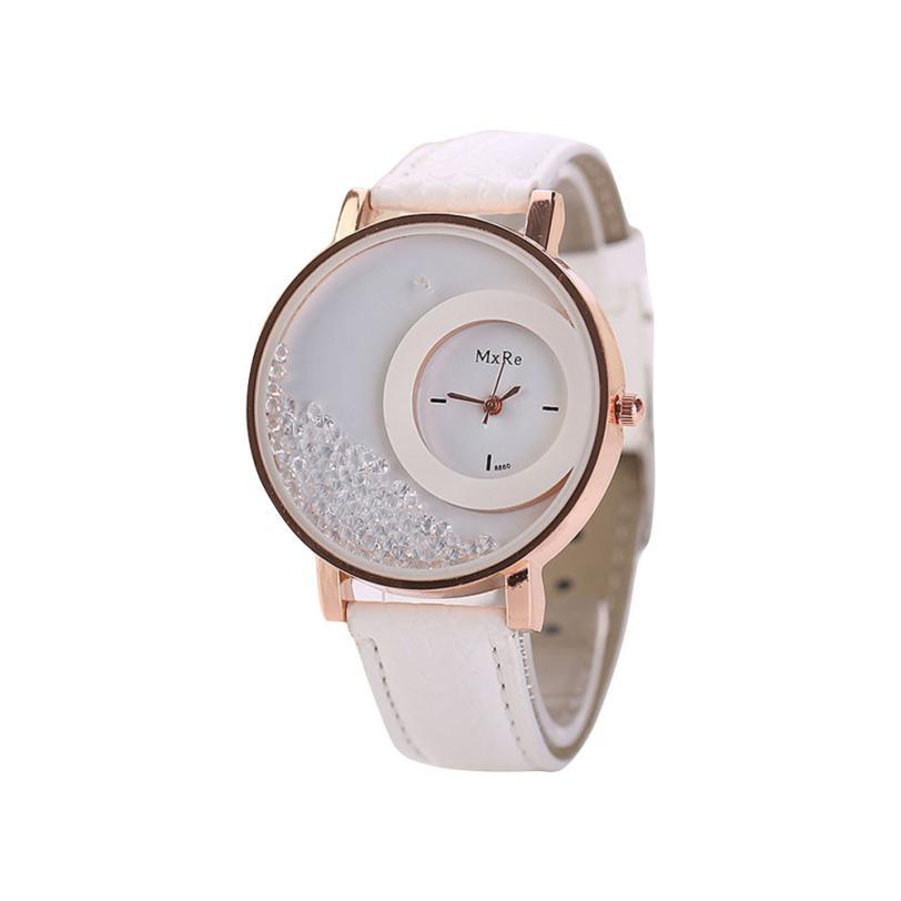 Women Watches Ladies Leather Quartz Watches Quicksand Rhinestone Bracelet Wristwatch Relogios Feminino Montre Femme #D