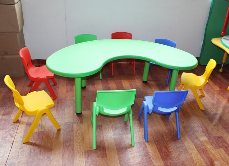 Factory Sales Kids Table Set Kindergarten Children Desks And Chairs Plastic  Table Half Moon Tables In Children Tables From Furniture On Aliexpress.com  ...
