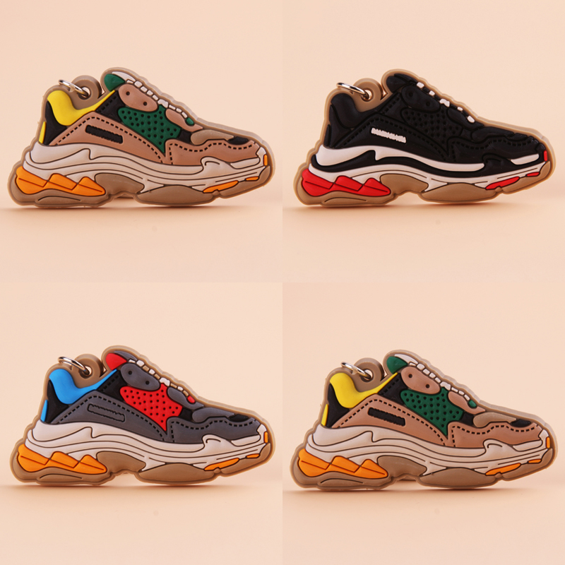 Keychain Mini Silicone TRIPLE S Shoe Key Chain Woman Men Kids Gift Key Ring Basketball Sneaker Porte Clef
