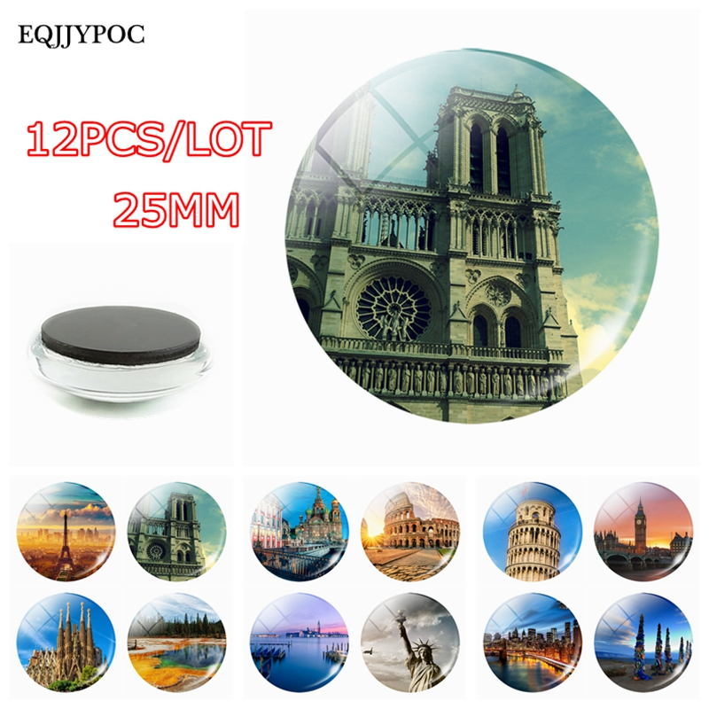 Fridge Magnet Souvenir 12PCS/SET Paris France Venice Italy New York USA Spain Roman Colosseum Tower of Pisa Statue of Liberty image