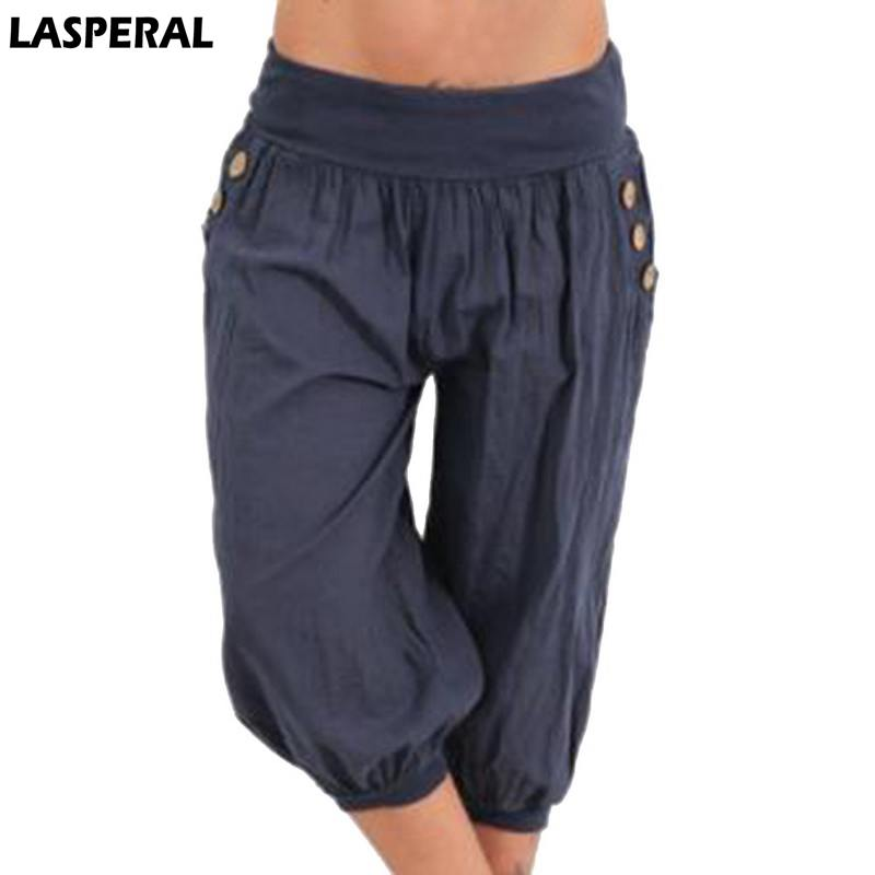 LASPERAL Solid Harem   Pants   Women Summer 2019 Plus Size Loose Wide Leg   Pants     Capris   Bloomers Trousers Knee Length Female Bottoms
