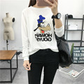 Fashion Cute goofy Cartoon printing Women Sweatshirt Letter Long Sleeve White O-neck Pullovers Casual Funny Clothing Hoodies