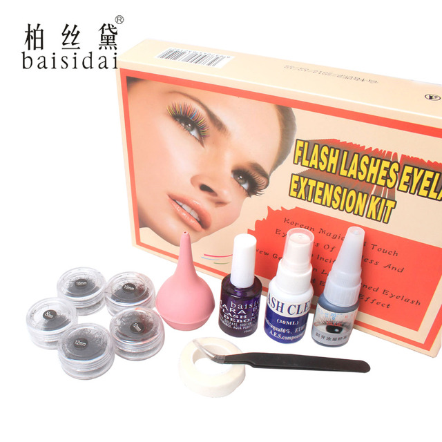 False Individual Eyelash Extension Air Pump Tweezer Cleanser Glue Tape Tools Set