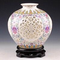 Antique Jingdezhen Handicraft Ceramic Vase Chinese Pierced Hollow Vase Wedding Gifts Home Furnishing Decoration Craft Articles