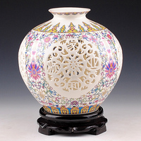 Antique Jingdezhen Handicraft Ceramic Vase Chinese Pierced Hollow Vase Wedding Gifts Home Furnishing Decoration Craft Articles
