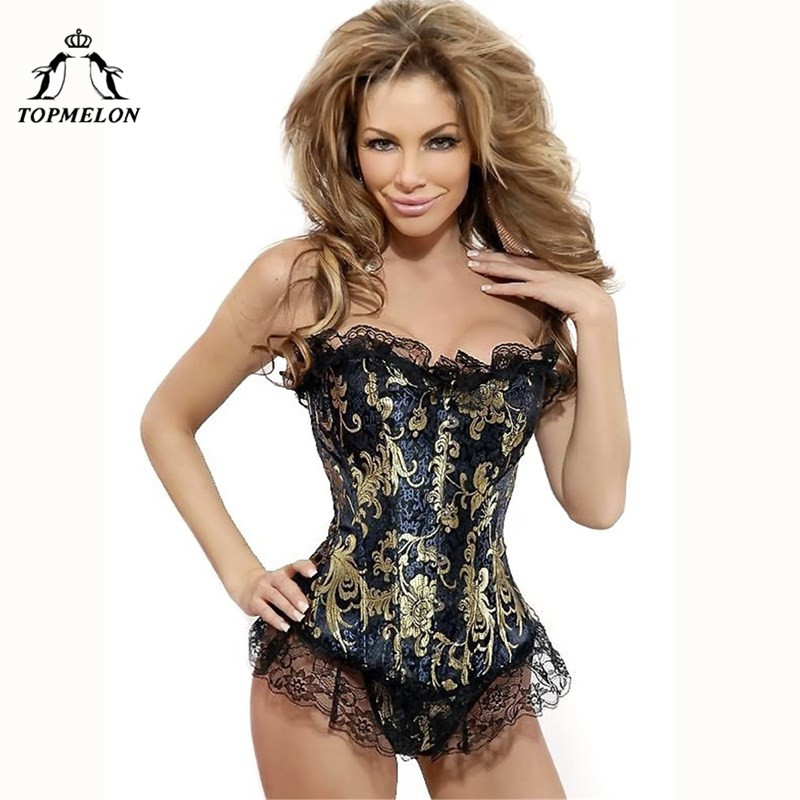 TOPMELON Steampunk   Bustier     Corset   Gothic Corselet Sexy   Corset   Women Slimming Lace Floral Shows Party Club Lace Up   Corset   Tops