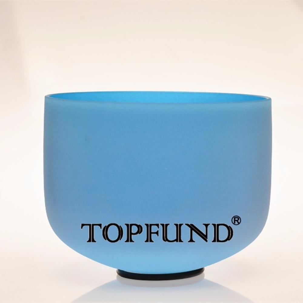 TOPFUND Blue Color G Throat Chakra Frosted Quartz Crystal Singing Bowl 8 inch With Free Mallet and O-Ring  rainbow frosted f heart chakra quartz crystal singing bowl 8 with free mallet and o ring