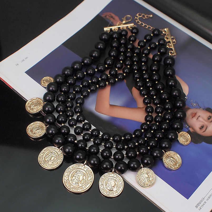 MANILAI ZA مجوهرات مقلد بيرل بيان قلادة للنساء البوهيمي موضة الذهب اللون عملة قلادة المختنق القلائد 2019