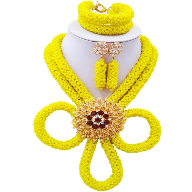 ACZUV Opaque jaune cristal bijoux ensemble collier africain nigérian mariage bijoux ensembles BZHX-005