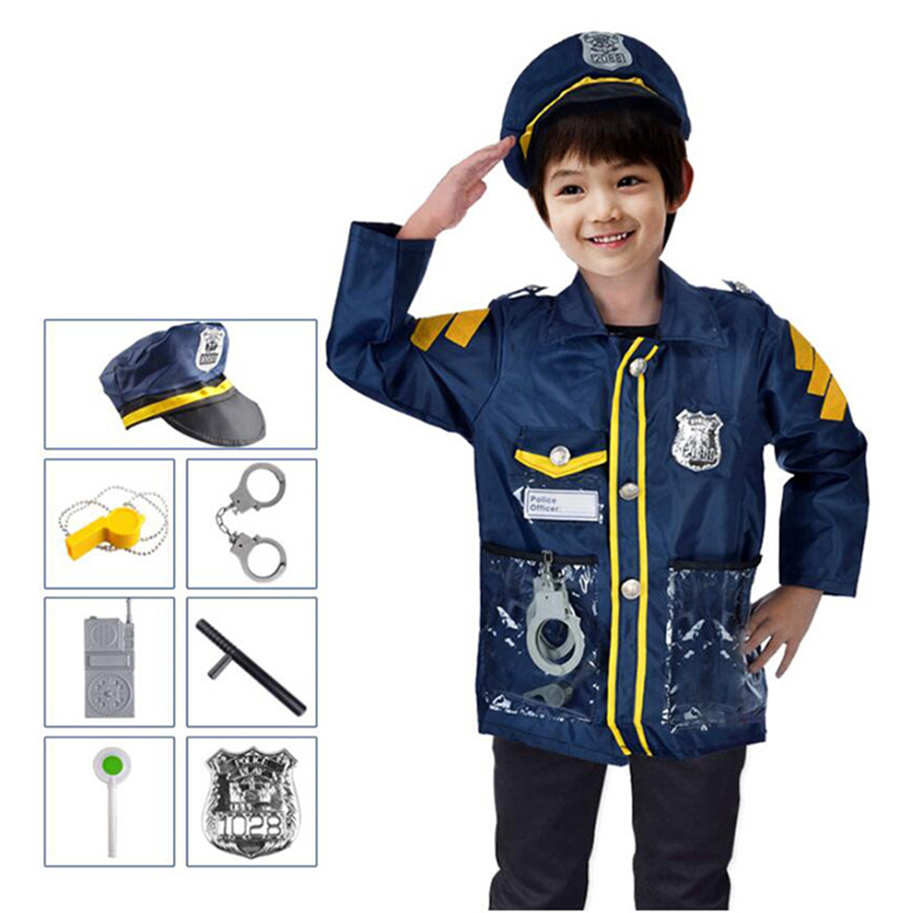 Children Police Man Role Play Game Toy Kids Toys Policeman Uniform Outfit Halloween Cosplay Set For Boys