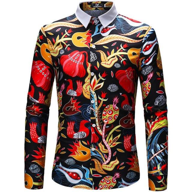 e0037cdb 2018 Retro Floral Printed Man Casual Shirts Fashion Classic Men Dress Shirt  Breathable Men's Long Sleeve Brand Clothing