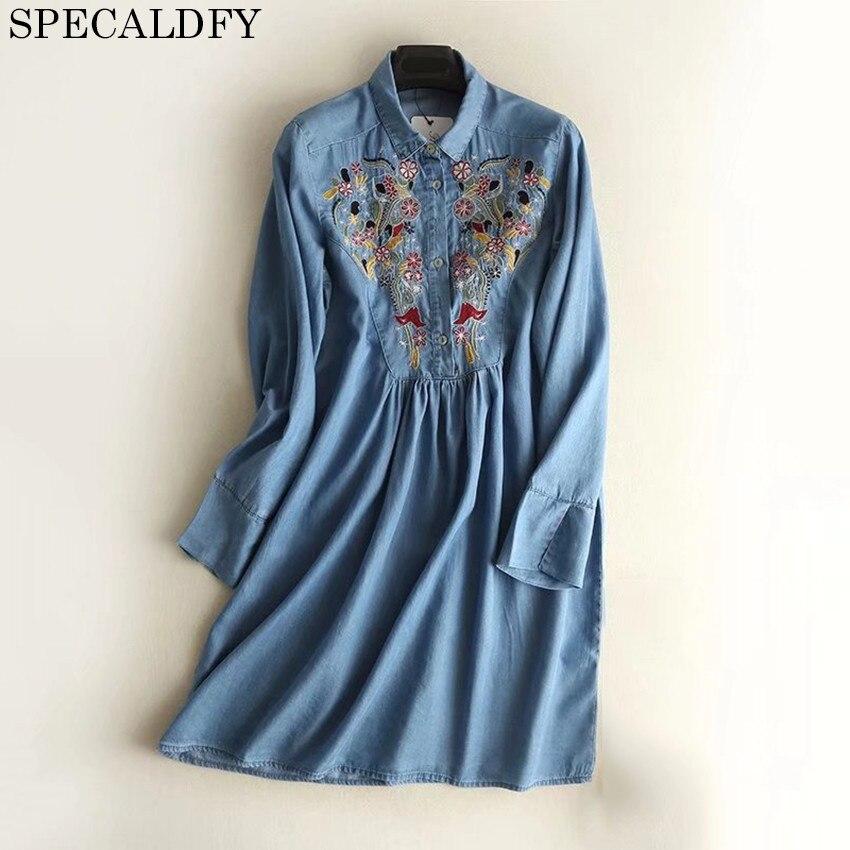2018 Spring Embroidery Denim Dresses Women Long Sleeve Casual Jeans Dress Vintage Short Shirt Dress Vestidos Jeans Robe Femme