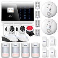 KERUI 8218 г Dual network GSM PSTN домашняя сигнализация охранная система с датчиком движения дыма проводная сирена и ip камера двери магнит Сейф