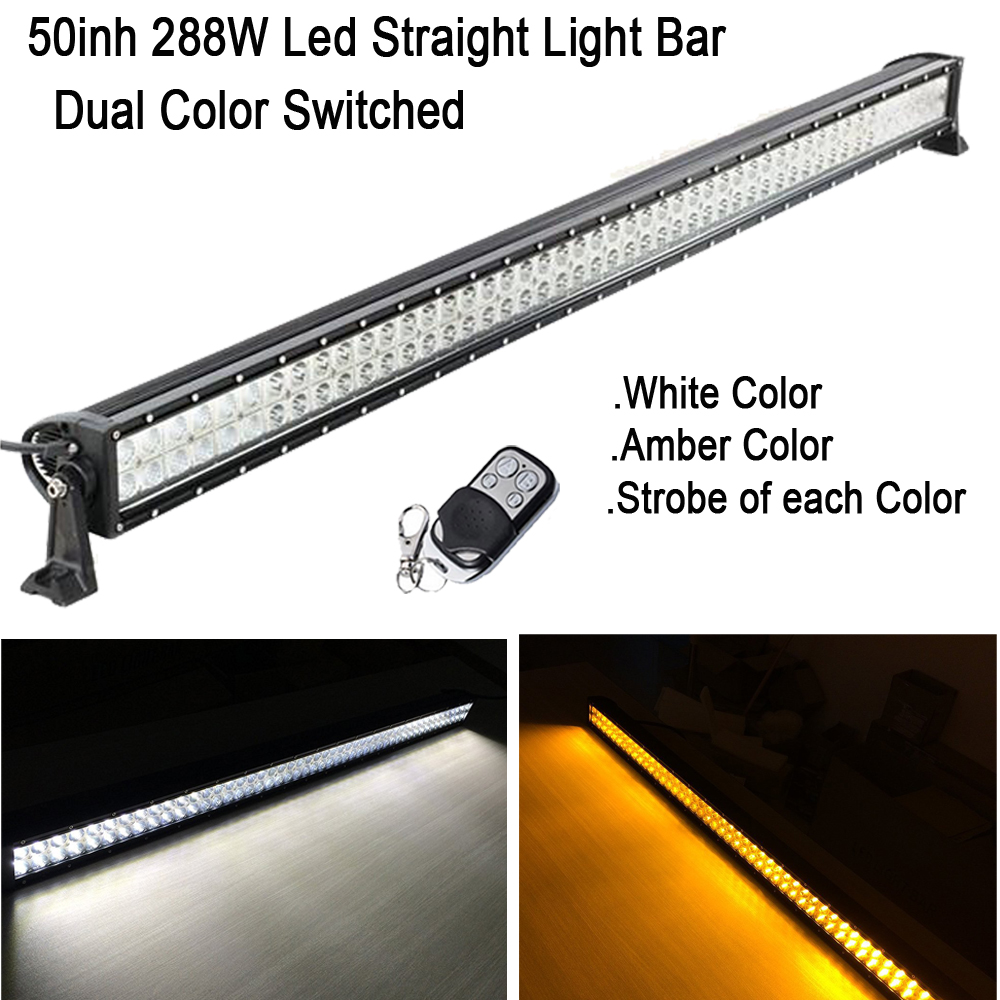 White Amber Strobe Dual Color Switched 50INCH 288W Led Light Bar Wireless RF Remote for OFFROAD JEEP TRUCK Hunting 4X4 ATV SUV