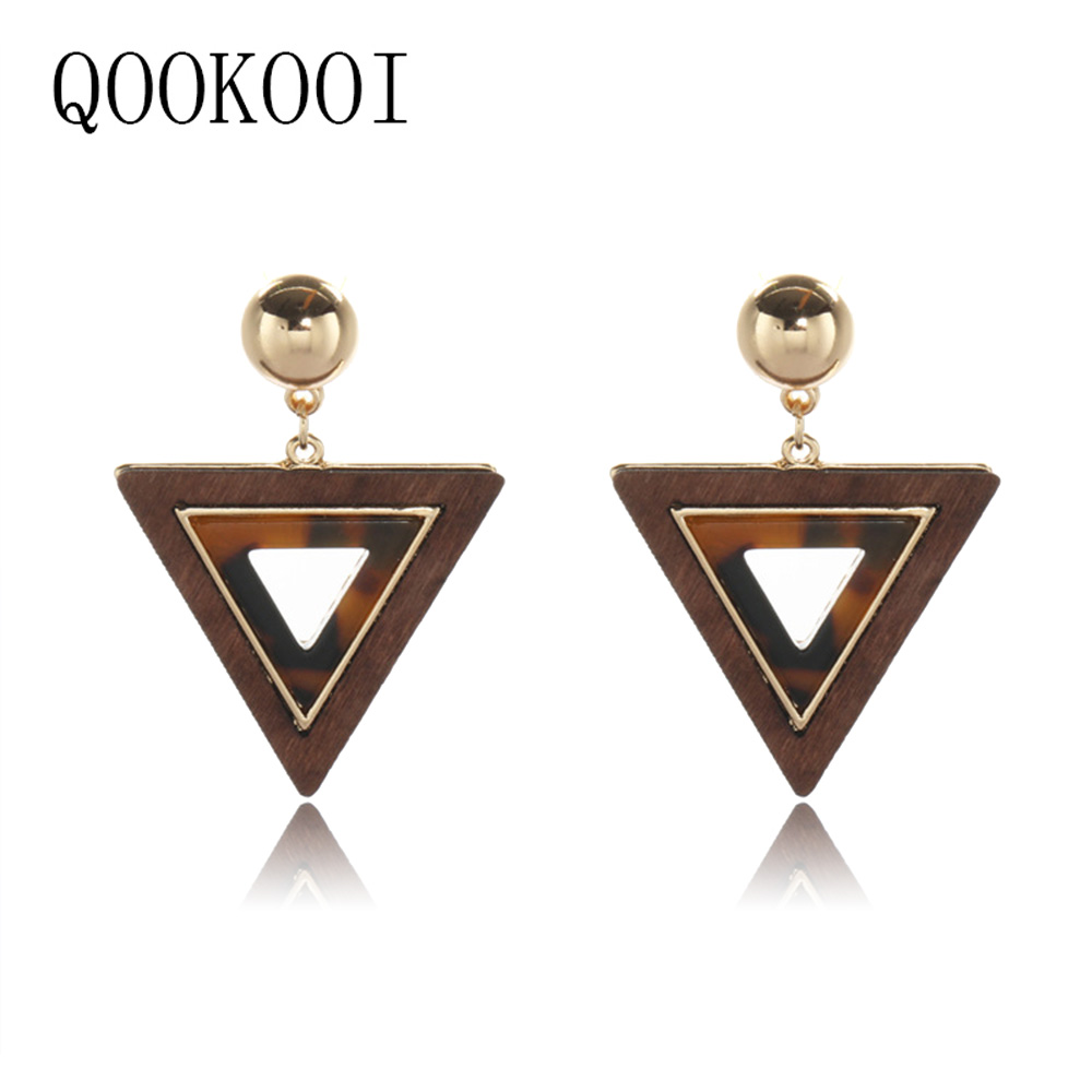 QOOKOO I New Trendy Natural Wood Earrings Hollow African Steampunk Earing Retro Jewelery Dangle Earrings 2018 Brinco Bijouterie