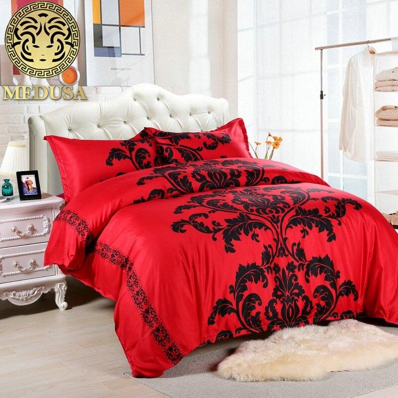 medusa lotus black red duvet cover set us full queen uk. Black Bedroom Furniture Sets. Home Design Ideas
