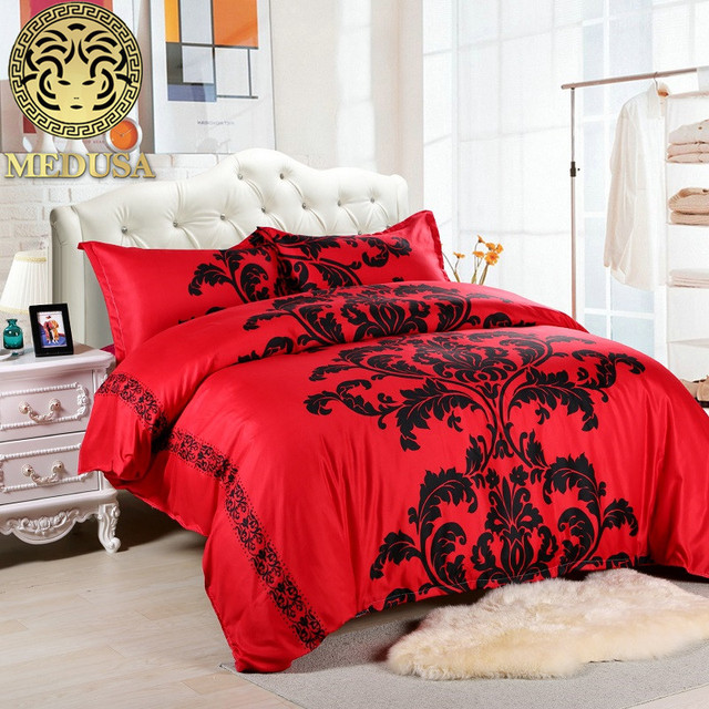 Medusa Lotus Black Red Duvet Cover Set Us Full Queen Uk King Size