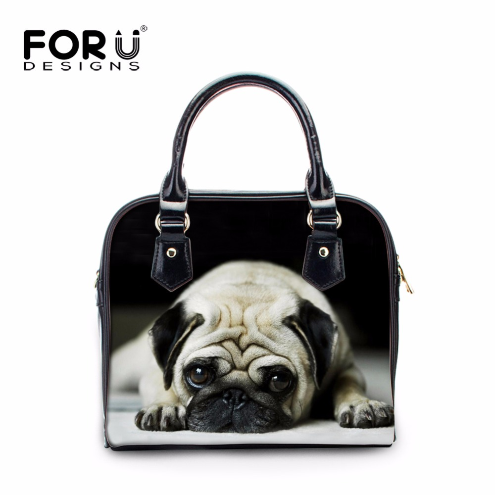 цена FORUDESIGNS Ladies Crossbody Bag 3d Dog Print Women PU Leather Handbag Female Casual Tote Bag Girls Houlder Bag Classic Bag