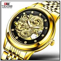 TEVISE Men's Watch Skeleton Hollow Golden Dragon Mechanical Watches Automatic Waterproof Clock horloges mannen Relogio Masculino