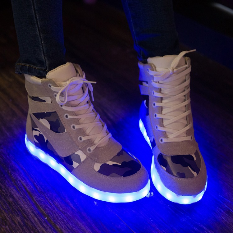 camouflage Casual sneakers Flash Shoes Men women shoes unisex Luminous Shoes High Top LED Lights USB Charging Colorful Shoes