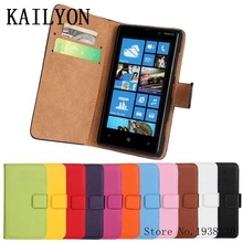 KAILYON Luxury Retro Real Genuine Leather Wallet Case For Nokia Lumia 820 Flip Stand Book Style Cell Phone Cover Bag With Card H