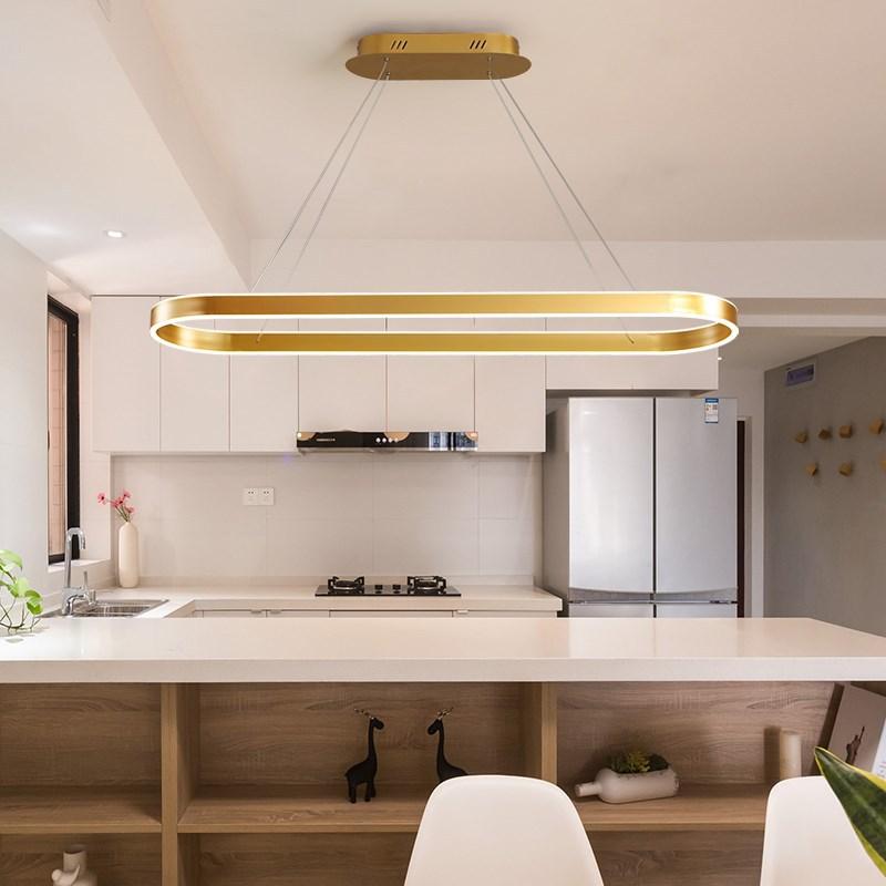 Modern Oval LED Hanging Light Gold Pendant Lamp For Dining