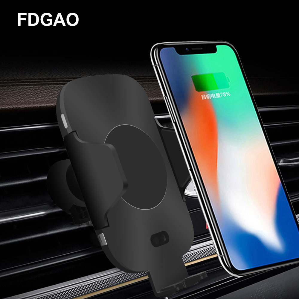 FDGAO Car Wireless Charger Infrared Sensor Charging Stand For iPhone XS Max XR X 8 Plus Samsung Note 9 S9 S8 Fast QI Car Charger