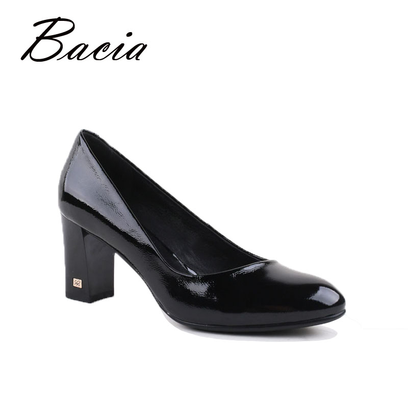 Bacia Gunuine Leather Pumps New Spring Autumn Thick High Heels Round Toe Square Heel Female Shoes Casual Office Lady Shoes VC022 fanyuan new spring autumn thick high heeled pumps woman round toe lace up shoes female platform shoes casual office lady