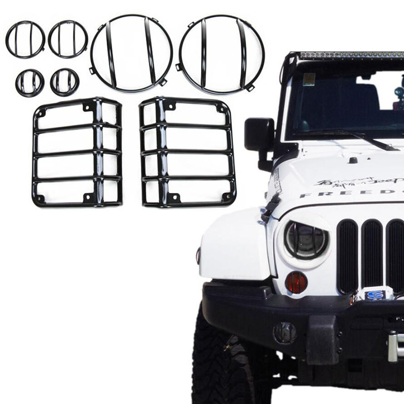 For 07-17 Jeep Wrangler JK Black Light Guard Covers Kit 8 Sets 7inch Front Headlights Rear Taillight Front Turn signal Covers 4pcs black led front fender flares turn signal light car led side marker lamp for jeep wrangler jk 2007 2015 amber accessories