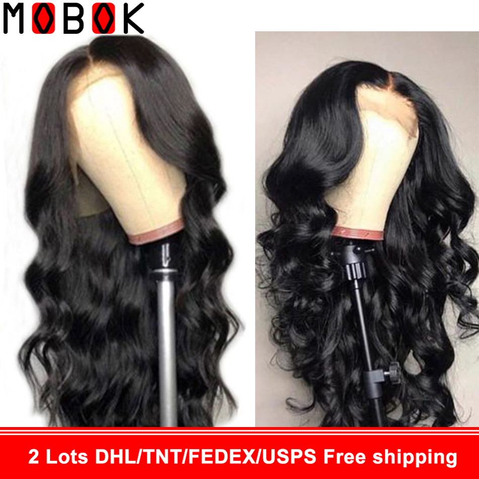 Mobok 360 Lace Wig Body Wave Wig Lace Front Human Hair Wig For Women Pre Plucked With Baby Hair Lace Wig Brazilian Remy Hair(China)
