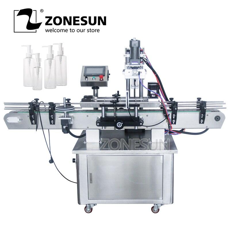 ZONESUN Automatic Desktop Electric Plastic Glass Crystal Water Perfume Shampoo Cosmetic Nail Polish Bottle Capping Machine