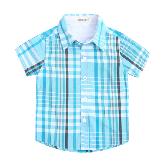 0e89bc57baa0f US $11.81 49% OFF|2017 New Arrival Boys Summer Style Brand Plaid Shirts  Kids Cotton British Clothes Short Sleeves children's clothing Casual  tops-in ...