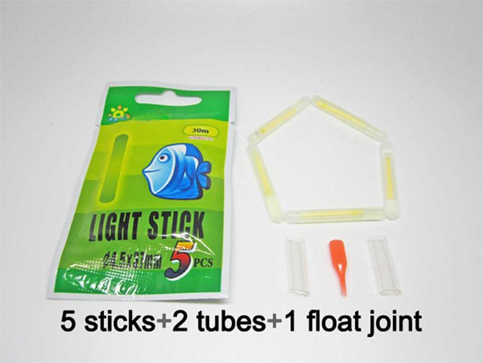 250 uds/50 paquetes de flotador de pesca nocturno sticks luces química luminosa Glow light Stick en Color verde accesorios de pesca A167