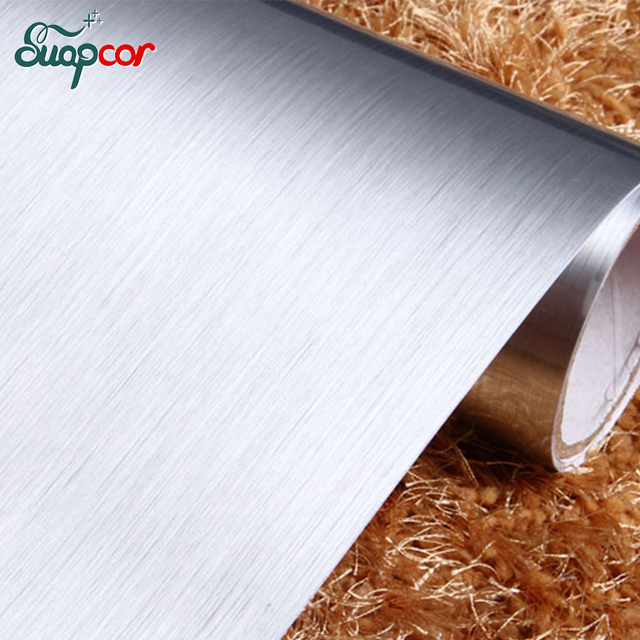 3M Silver Brush Self Adhesive Metal Wall Paper Refurbished Furniture  Waterproof PVC Stickers For Kitchen Cabinet