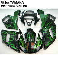 Motorcycle fairing kit for Yamaha YZF R6 98 99 00 01 02 green flames black fairings set YZF R6 1998 1999 2000 2001 2002 LV78