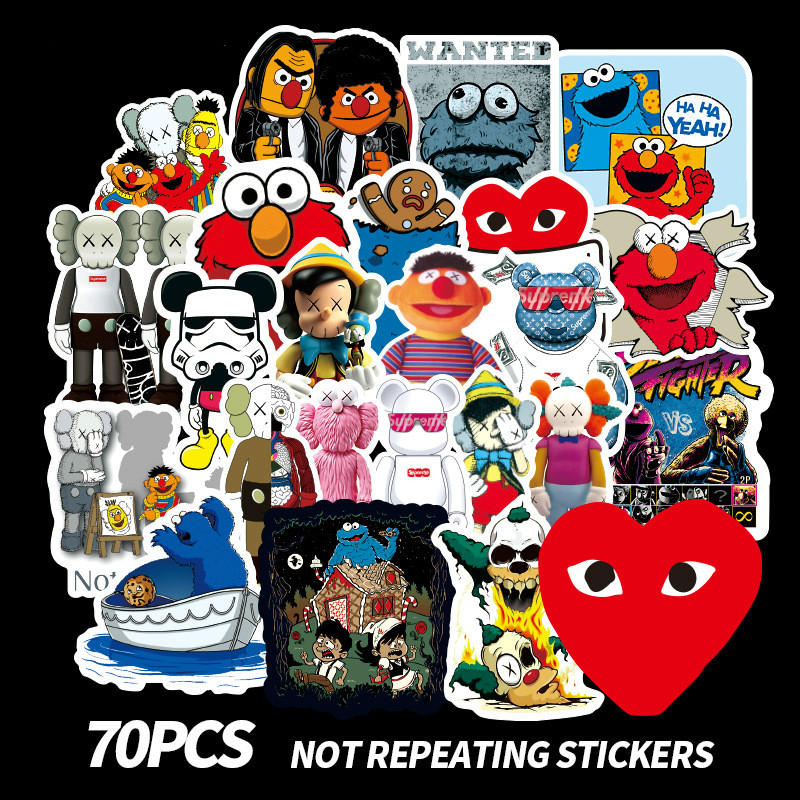 70PCS American Sesame Street Stickers For Car Styling Bike Motorcycle Phone Laptop Travel Luggage Cool Funny DIY TOY Sticker