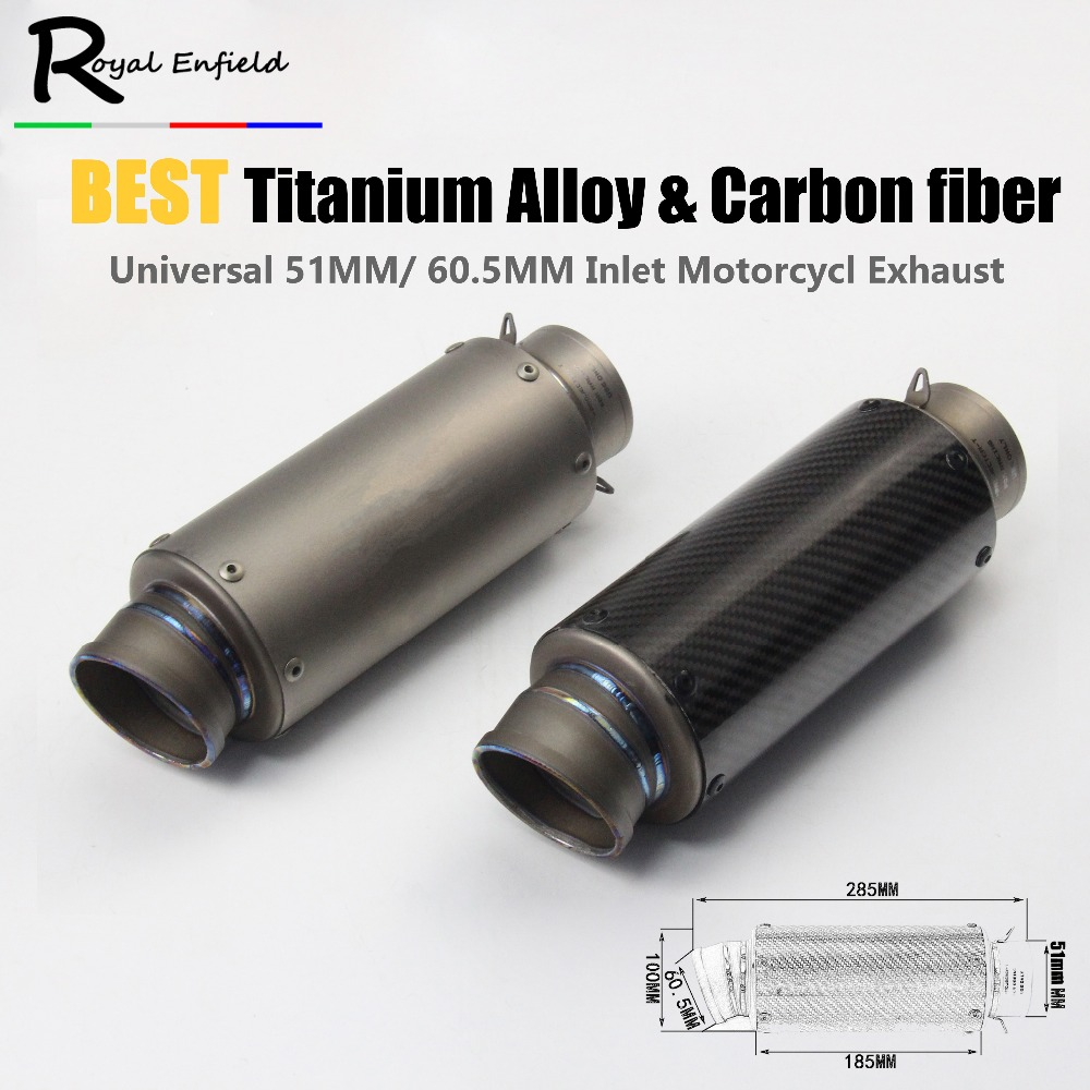 Universal 60mm Inlet Motorcycle Exhaust Carbon Fiber Titanium Alloy Muffler Modified Exhaust Pipe z800 S1000RR CBR1000 r1 r6 z75 inlet 51mm universal exhaust motorcycle for akrapovic muffler pipe modified large displacement carbon fiber color db killer 51