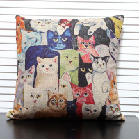 Free Shipping High Quality Linen Invisible Zipper Vintage Creative Cat Sofa Cushion Cover Pillow Cover 45
