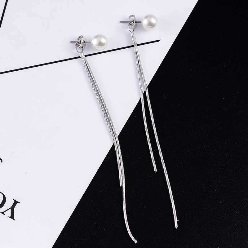 SUKI Pendientes Flecos 2018 Korean Elegant Women Long Earring CZ Pearl Charm Pendent Snake Chain Tassel Earrings