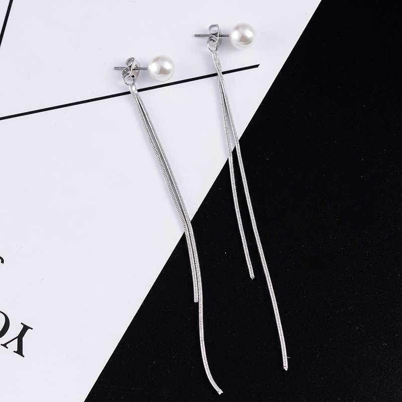 SUKI Pendientes Flecos 925 Korean Elegant Women Long Earring CZ Baroque Pearl Charm Pendent Snake Chain Tassel Earrings