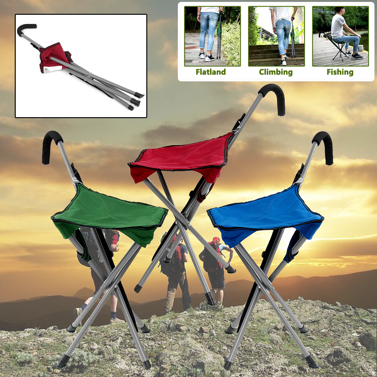 Folding Cane Portable Walking Stick Chair Camping Hiking Handle Seat Rest Tripod Outdoor Stool Chair Outerdoor Tool folding cane chair walking stick with tripod stool