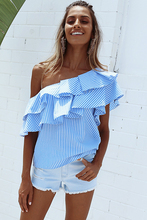 Women two colors Vertical Striped Off The Shoulder Tops With Frill Detail Ladies Summer Cute short ruffles Sleeve Shirt T-shirt