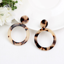 L&H Fashion Leopard Earrings Personality Atmosphere Exaggerated Edition Geometric Round Brown Acrylic Acetate