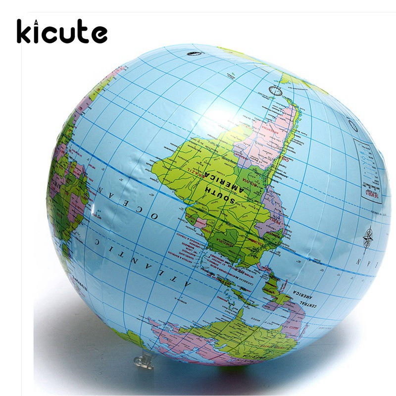 Inflatable Globe World Map. Kicute Globe Map Inflate Inflatable Round Earth World Teacher Beach Ball  Geography Detailed Illustration Teaching Aid Toy in Stationery Set from Office