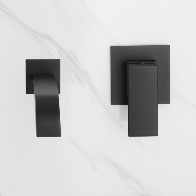Matt Black Plated Bathroom Wall Mounted Faucet